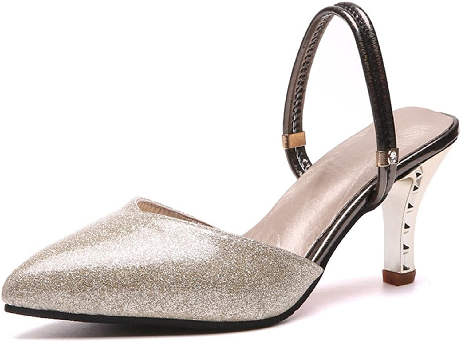 T-JULY Womens Ladies Fashion Sparkle Glitter Heels Pointed Toe Pumps Chunky Heel Slip on Sex Comfy Dress Sandals