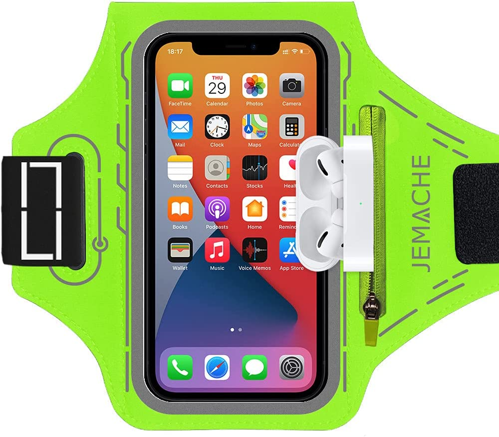 iPhone 12 Pro Max, 11 Pro Max Armband, JEMACHE Gym Workouts Running Cell Phone Arm Band for iPhone 12 Pro Max, 11 Pro Max, Xs Max, 12, 12 Pro, 11, XR with Airpods Pro Holder (Green)