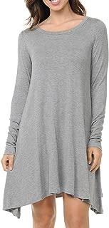 Sweethabit Women's Casual Long Sleeve T-Shirt Loose Tunic Top Dress.