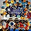 男の子の誕生日パーティーの装飾用の宇宙テーマバルーンデコレーションセット 飛行機のバルーン宇宙飛行士の誕生日パーティー用品 子供の誕生日パーティーの友達のパーティーの装飾に適した軽い紐付きの大きなポスター