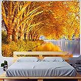 QJIAHQ Tapiz Paisaje Árbol AmarilloDecoraciones de Pared Tela para Colgar en la Pared Alfombras panorámicas en 3D de Invierno para el hogar Sofás-cama-130cm × 150cm