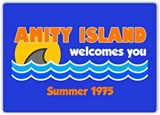 not Amity Island Welcomes You Metal Wall Sign Tin Warning Hanging Signs Vintage Plaque Art Poster Painting Celebrity Yard Garden Door Bar Cafe Easter