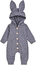 Baby Gifts,Newborn Infant Baby Girls Boys Rabbite Ear Solid Jumpsuit Soft Romper Clothes