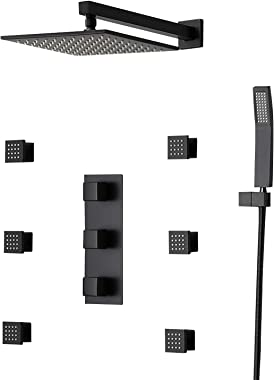 JiaYouJia 12'' Wall Mounted Rain Shower System 3-Function Shower Combo Set with 6 Body Spray Jets in Matte Black,Roug