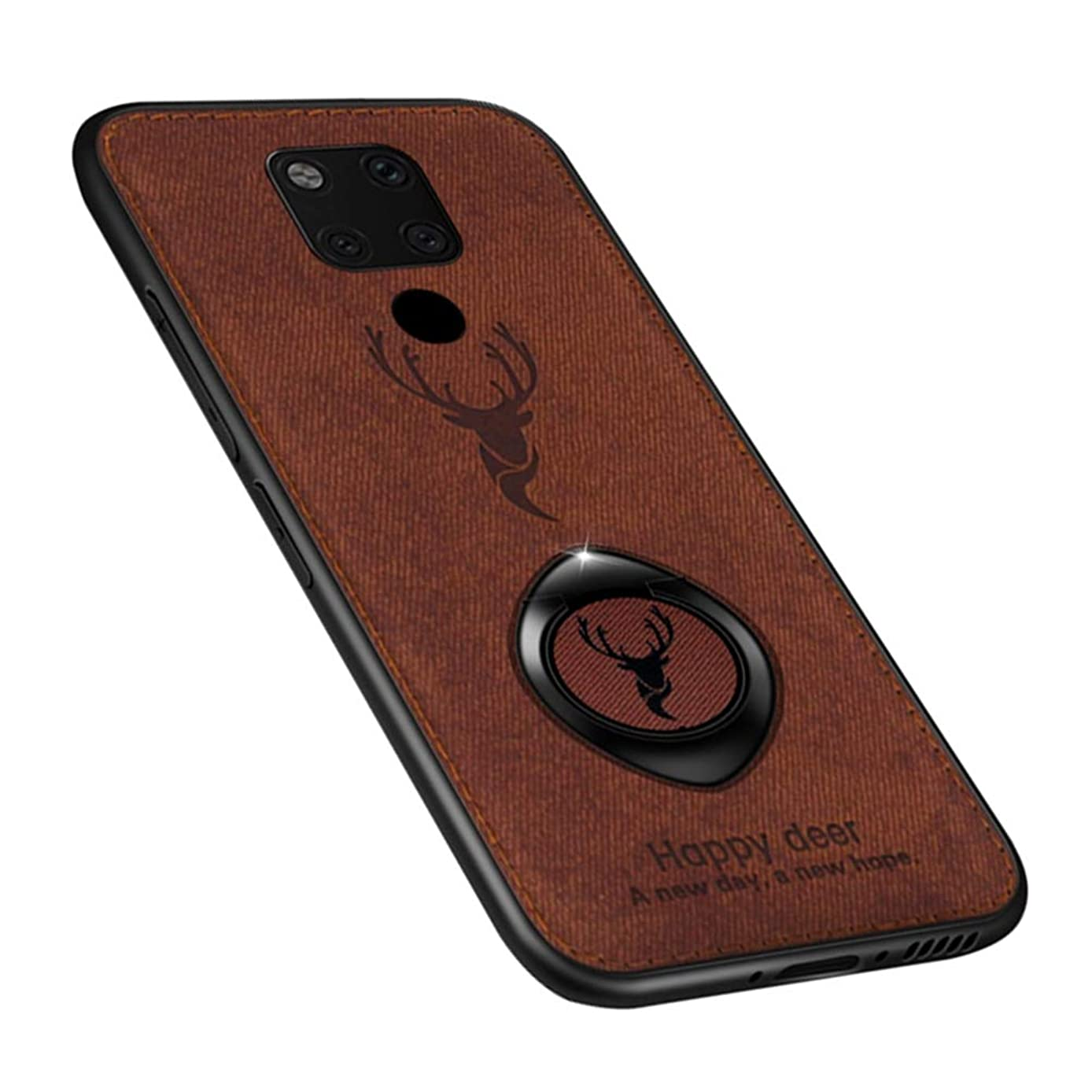SHUNDA Huawei Mate 20 X Case, Slim Deer Head Pattern Fabric Case [Ring Stand Compatible with Magnetic car Bracket] Shockproof Hybrid Protective Cover for Huawei Mate 20 X - Brown