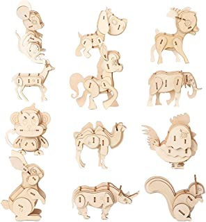 3D Wooden animal Puzzle Model Kit Toys for Kids Puzzle Build 3D Puzzles Educational Crafts Building Engineering DIY STEAM ...