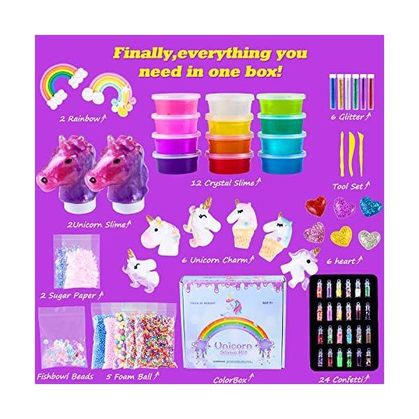 Unicorn Slime Kit for Girls - Slime for Girls, Fluffy Premade Slime with Unicorn Slime Charms, Glitter, DIY Pink, Toys… 5