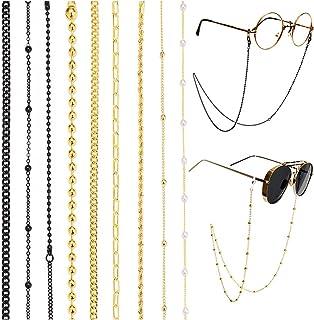 Sponsored Ad - Glasses Chain Holder for Women, 9 Pack Women's Eyeglass Chain Necklace, Stylish Gold/Black Plated Reading E...