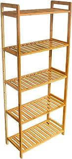 Wolketon Étagère de rangement en bambou à 5 niveaux pour salle de bain, cuisine, couloir, sauna