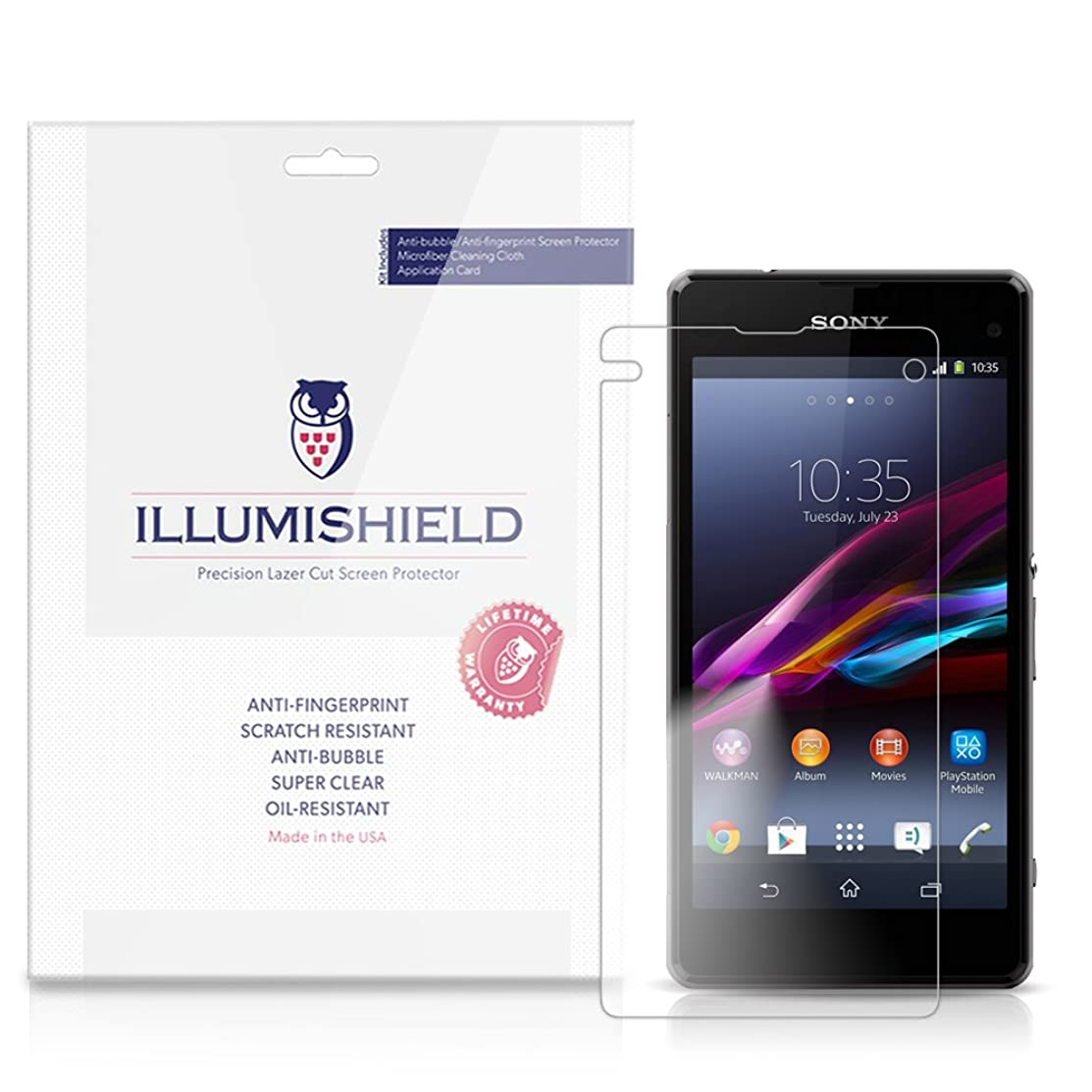 iLLumiShield Clear Screen Protector for Sony Xperia Z1 Compact [3-Pack]