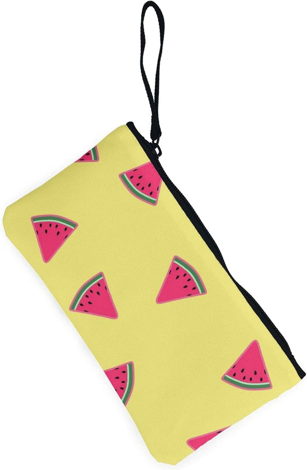 AORRUAM Yellow background and Watermelons Canvas Coin Purse,Canvas Zipper Pencil Cases,Canvas Change Purse Pouch Mini Wallet Coin Bag