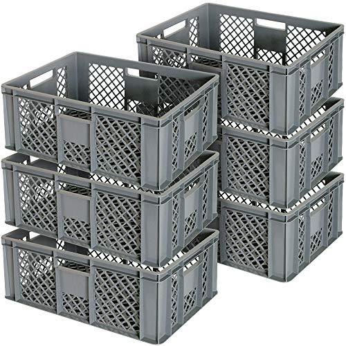 6x Eurobehälter durchbrochen/Stapelkorb, Industriequalität, lebensmittelecht, 600 x 400 x 240 mm, grau