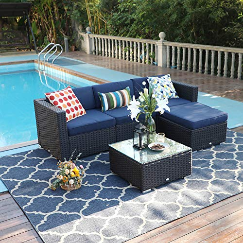 PHI VILLA 5 Pieces Patio Furniture Sets All-Weather Outdoor Sectional Sofa Manual Weaving Wicker Rattan Patio Conversation Set with Cushion and Glass Table (Blue)
