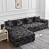 MKQB Funda de sofá Chaise Longue, Funda de sofá elástica con combinación de Esquina en Forma de L, Funda de sofá Antideslizante con Envoltura hermética n. ° 5 XL (235-300cm)