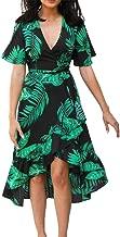 Summer Floral Print Chiffon Beach Long Dress Women V Neck Party Dress