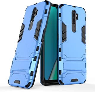 Case for Oppo A9 2020 DWaybox Iron Man Design 2 in 1 Heavy Duty Armor Hard Back Case Cover with Kickstand Compatible for Oppo A9 2020/A11X 6.5 Inch (Light Blue)