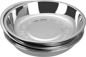 Nesmile 4 Packs Stainless Steel Dessert Plate, 7.87 Inches Round Dinner Plate