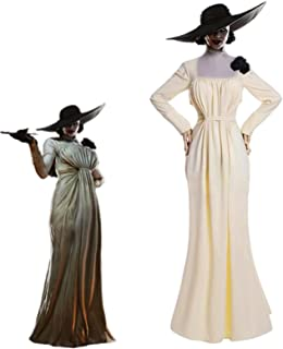 NUOQI Lady Alcina Dimitrescu Dress Cosplay Costume White Long Dress Halloween Party Outfit