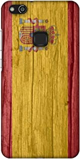 AMZER Slim Fit Handcrafted Designer Printed Snap On Hard Shell Case Back Cover for Huawei P10 Lite - Spain Flag- Wood Text...