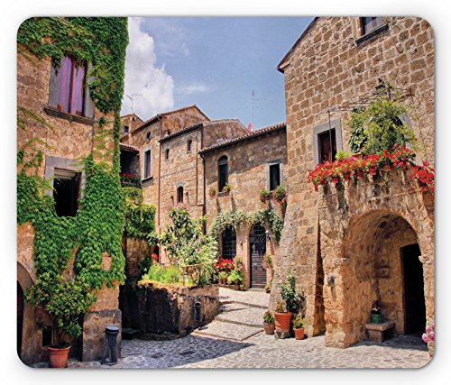 Lunarable Tuscany Mouse Pad, Italian Streets in Countryside with Traditional Brick Houses Old Tuscan Prints, Rectangle Non-Slip Rubber Mousepad, Standard Size, Brown