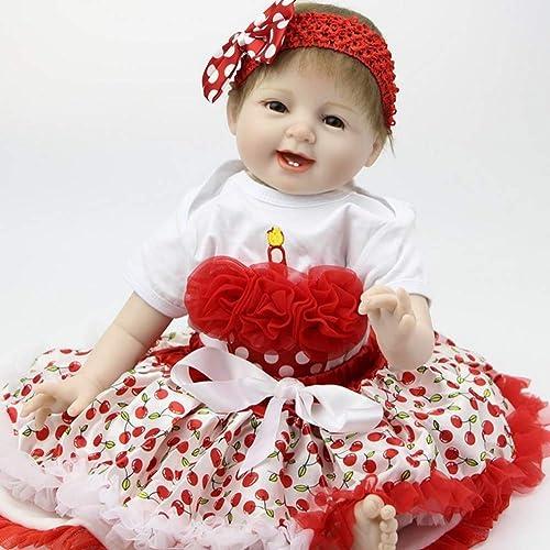 UBTY 22 inch 55cm Reborn Babypuppen Kinder Spielzeug Weiß Silikon Vinyl Magnetisch Baby Doll Realistische  ne Deine Augen mädchen