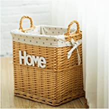YAYADU Storage Basket Finishing Box Rattan Weave Hand Made High Capacity With Carry Handle Store Toy Clothes Newspapers Ho...
