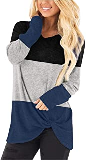 Loyomobak Womens Long Sleeve Tee Knot Twist Front Tops Solid V-Neck Blouse T Shirts