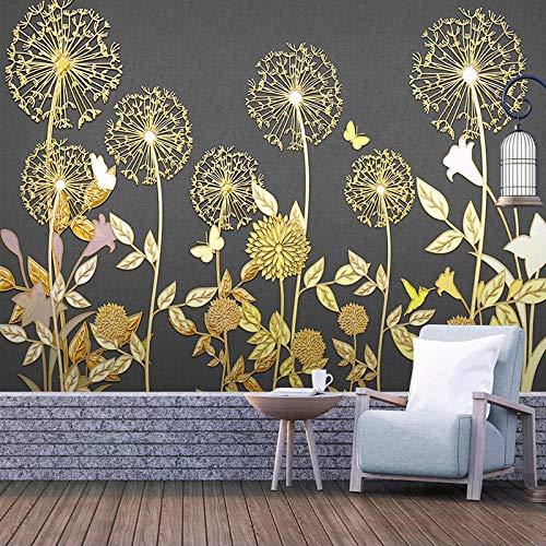 Qqasd-Mural Tapete 3d kreative minimalistische Goldfaden Pflanze Blumen Wohnzimmer Schlafzimmer Hintergrund dekorative Tapete-250X175CM