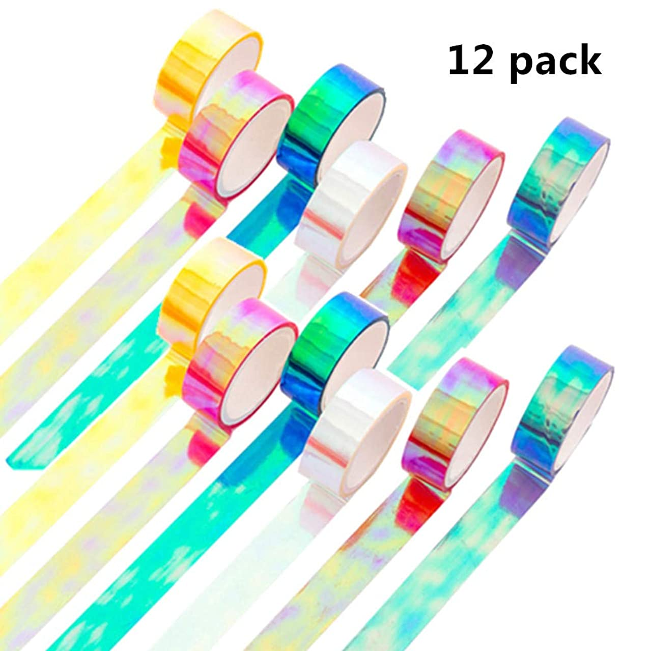 Holographic Rainbow Colored Masking Tape Decorative Craft Waterproof Adhesive Iridescent Tape 12 Roll Variety Kit-Assorted Color Craft Kit Tape for Boy Girl DIY Arts Decor