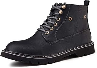 Bin Zhang Ankle Boots for Men Work Boot Lace up Microfiber Leather Low Heel Round Toe Anti-Skid Side Zipper Stitching Burnished Style Lug Sole (Color : Black, Size : 8 UK)