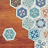 Vinilo adhesivo para suelo para decoración del hogar – Hexágono sala de estar, cocina, baño, azulejos de piso, adhesivos autoadhesivos, 20 x 23 x 20 x 10 piezas (DB058)