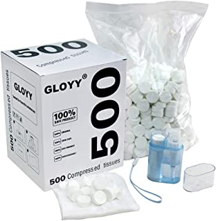 """GLOYY Soft Compressed Towels Biodegradable Wipe Mini Magic Coin Tissues Includes Free Carrying Dispenser, Portable for Home Beauty Backpacking Camping Outdoor Accessories(500 Count) (8.8""""x9.5"""")"""