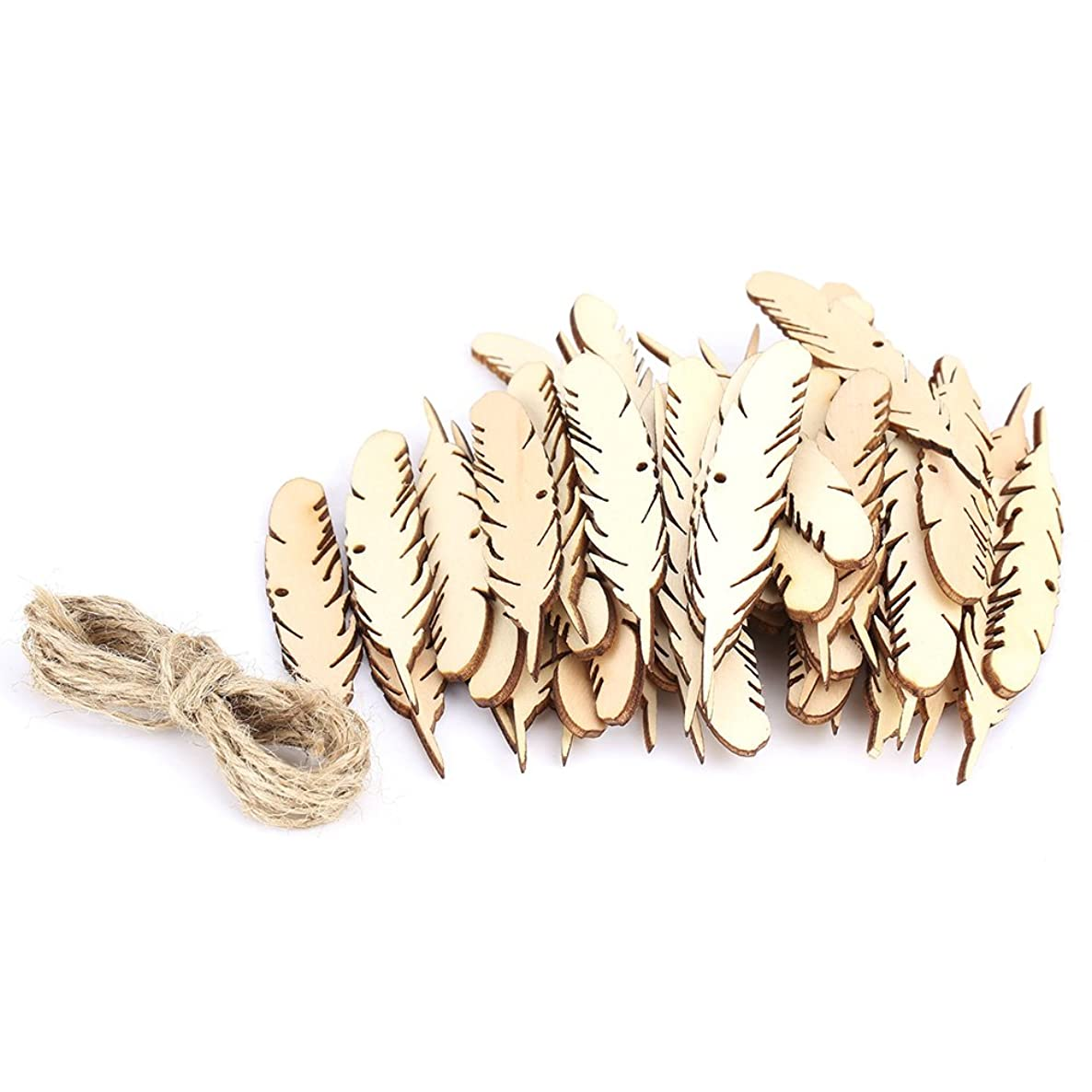 50Pcs/Bag Feather Wood Crafts Blank Wood Slices Wooden Hanging Gift Tags for Wall Wedding Party Room Decoration Accessories DIY