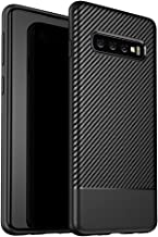 NALIA Case Compatible with Samsung Galaxy S10, Carbon-Look Protective Smart-Phone Back-Cover Rubber Gel Etui, Thin Shockproof Soft Skin Silicone Slim Bumper Handy Protector Shell - Black