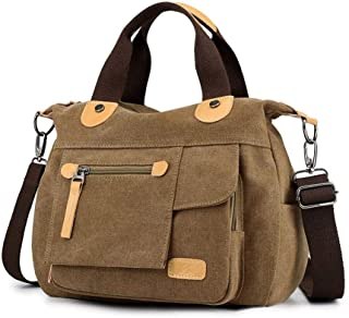 Sling Bag Women Shoulder Bag Canvas Crossbody Bag Handbag Casual Messenger Bag Stylish Ladies Top Handle Bag Fashion Cross Body Bag Travel Satchel Bag KAVU Bag (Color : Khaki)