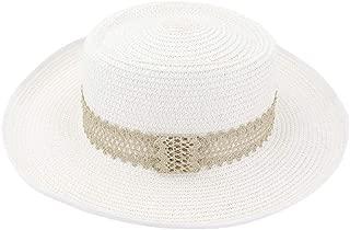 Women British Seaside Holiday Beach Lace Band Decoration Fashion Visor Sun Hat Summer Women Flat Straw Sun Hat (Color : White, Size : 56-58CM)