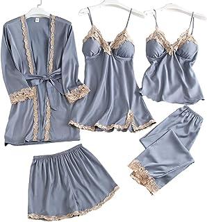 DishyKooker 5Pcs Women Sexy Thin Robe Nightgown Ccondole Belt Shorts Trousers Set