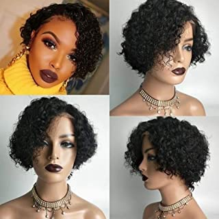 Short Curly Lace Frontal Human Hair Bob Wigs Glueless Full Lace Hair Natural Black Color Pre Plucked Hair Line 150% Density with Baby Hair for Black Women by Estelle Wig (8inch, 13x6 lace wig)