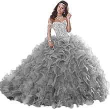 APXPF Women's Heavy Beaded Organza Ruffle Quinceanera Dress