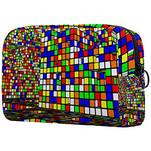Bolsa de maquillaje para cosméticos, bolsa de cosméticos, bolsa de cosméticos para mujeres, bolsa de viaje, bolsa de aseo para niñas, cubo de Rubik