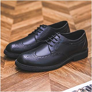 XinQuan Wang Business Oxford for Men Formal Dress Shoes Lace Up Microfiber Leather Waxy Shoelaces Wingtip Brogue Carving Point Toe Cushioning Insole (Color : Black, Size : 6 UK)