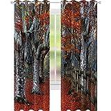 YUAZHOQI - Cortinas para sala de estar, diseño de haya, con hojas de otoño, diseño de madres y tierras, color gris y rojo