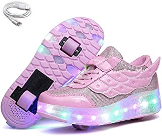 Ehauuo Unisex Kids LED Roller Skates Shoes Rechargeable Two Wheels Shoes Light up Wheel Sneakers for Child Girls Boys Gift