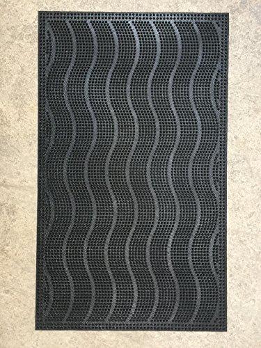 MGI DEVELOPPEMENT Felpudo para entrada con raspador, 45 x 74,5 cm, diseño de ondas, muy resistente, de caucho reciclado - 1 tapis