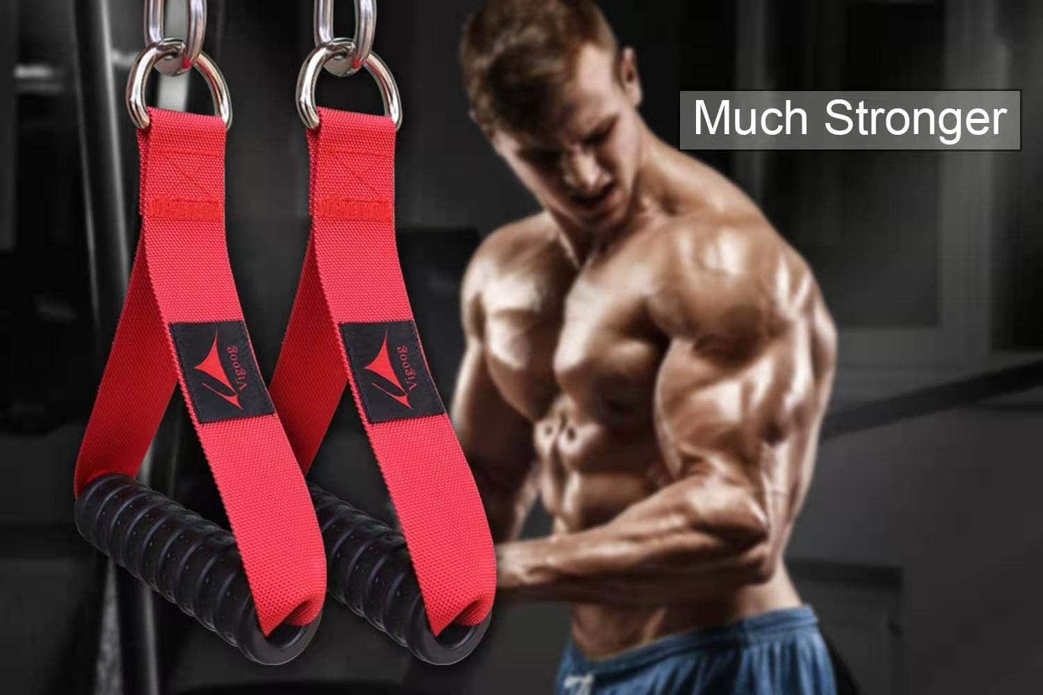 Heavy Duty D-Ring Pull Up Foam Handle Rope Grips for Muscle Fitness Fitness Gym