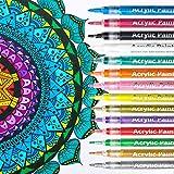 NASUM Marker Stifte mit Dünner Spitze, 14 Farben 0.7mm Premium Wasserfest Paint Marker Set für Leinwand,Glas, Papier, Metall, Fotoalbum und DIY-Handwerk