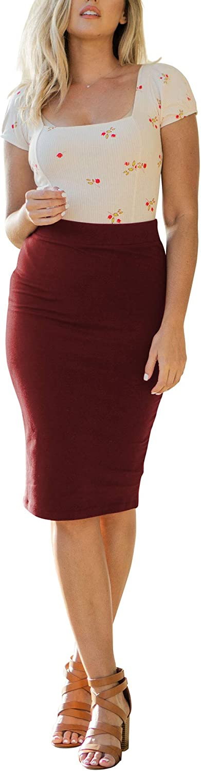 NioBe Clothing Women's It is very popular High Waist Bodycon Sales results No. 1 Midi Cotton Fitted Pen