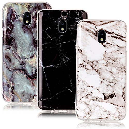 CLM-Tech kompatibel mit Samsung Galaxy J7 (2017) DUOS TPU Silikon Hülle 3X, Schutzhülle Handyhülle, Hülle 3er Set, Marmor Muster schwarz weiß Mehrfarbig