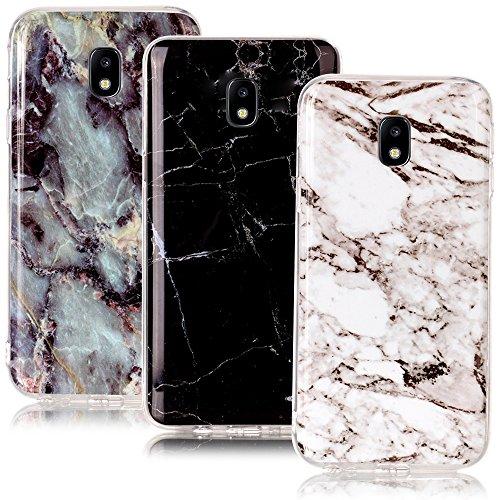 CLM-Tech kompatibel mit Samsung Galaxy J3 (2017) DUOS TPU Silikon Hülle 3X, Schutzhülle Handyhülle, Hülle 3er Set, Marmor Muster schwarz weiß Mehrfarbig