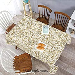 Polyester Spillproof Tablecloths for Rectangle Tables 60 x 84 Inch Golden Grape Vine Classic Victorian Pattern Invitation Background Wine Dine Illustration Indoor Outdoor Camping Picnic Table Cloth G